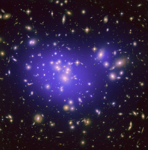 "Closing in on Dark Matter: Another ""Tentative"" Step.Photo Above: A galaxy cluster with the distribution of dark matter marked by purple overlay. Credit: NASA, ESA, E. Julio (JPL/LAM), P. Natarajan (Yale) and J-P. Kneib (LAM).  When physicists and mathematicians want to get an idea into circulation before going through all the hoo-hah of peer-reviewed publication, they often post a paper on the arXiv server, where anyone who is curious can go and read it. Some arXiv papers turn out to be important, but much evaporates on closer inspection. Judging whether a new arXiv paper is one or the other can be extremely difficult. That is certainly the case with physicist Christoph Weniger's paper, ""A Tentative Gamma-Ray Line from Dark Matter Annihilation at the Fermi Large Area Telescope,"" posted on April 12, on dark matter.  Continue Reading…"