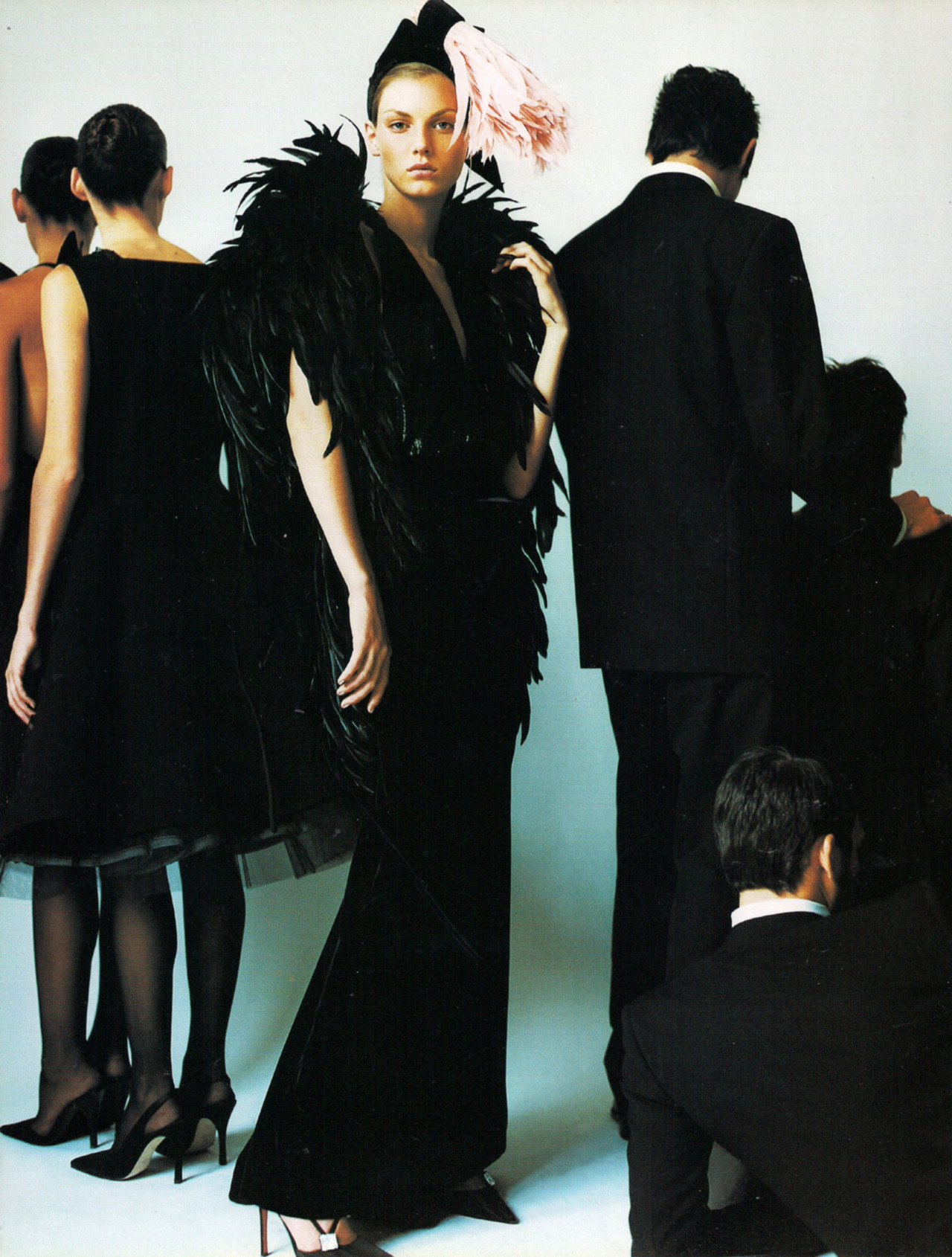 "Angela Lindvall in Yves Saint Laurent Fall 2000 Haute Couture for ""Black Gold,"" Vogue UK December 2000"