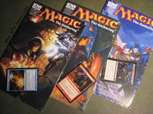 IDW's Magic the Gathering Comics #1 (promo - Treasure Hunt), #2 (promo - Faithless Looting), and #3 (promo - Feast of Blood), just came in making me a happy geek.