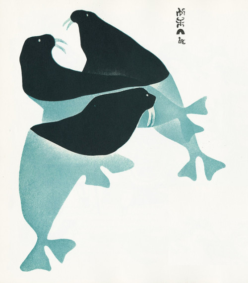 "Inuit Art ""Three Walrus"" by Sheowak, wife of a seal hunter.Made in 1960"