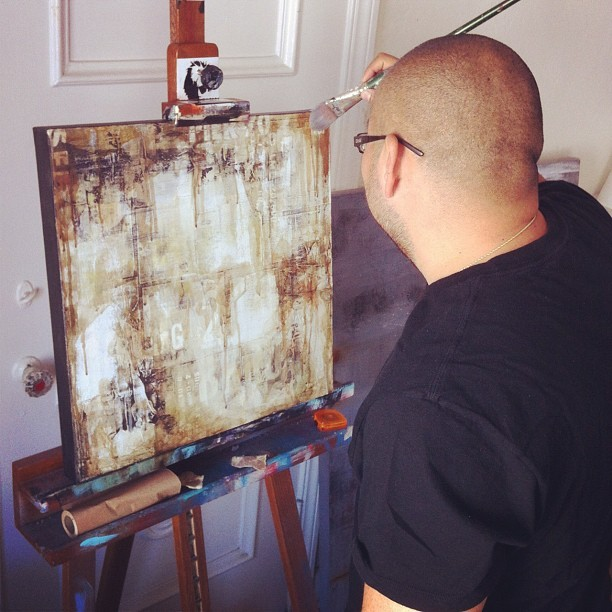 Studio visit with urban decay artist @stevejaviel - who recreates urban surfaces such painted over wheatpasted walls and railroad boxcars.  #stevejaviel #art #artist #painting #streetart (Taken with instagram)