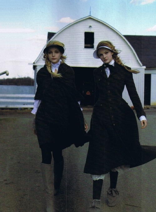 Jessica Stam and Caroline Trentini by Peter Lindbergh for Harper's Bazaar, October 2006