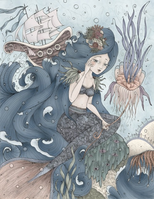 stacyfahey:  The Little Mermaid by Stacy Fahey (2012) One of my gallery pieces! Click here to see it a bit bigger! I will be posting one a day during this upcoming week :) If you reblog, please don't remove my name! xo