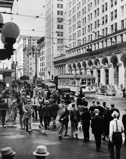 The downtown L.A. intersection of Spring & Seventh in 1937
