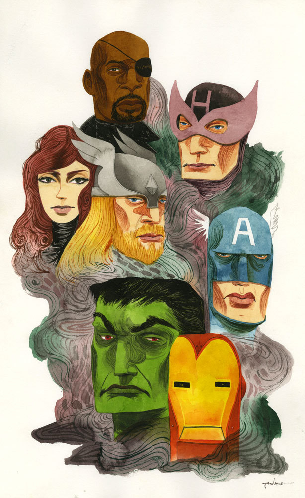 The Avengers by Ken Garduno / Blog / Tumblr Part of the upcoming 'Assemble' art show celebrating The Avengers at Gallery1988 / Tumblr.