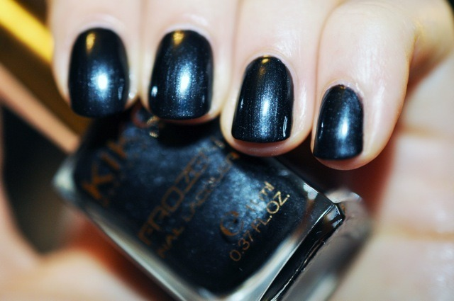 Kiko Milano Frozen Nail Lacquer in Iced Black 06 swatch. Chanel Black Satin dupe? by Swedish Love Affair