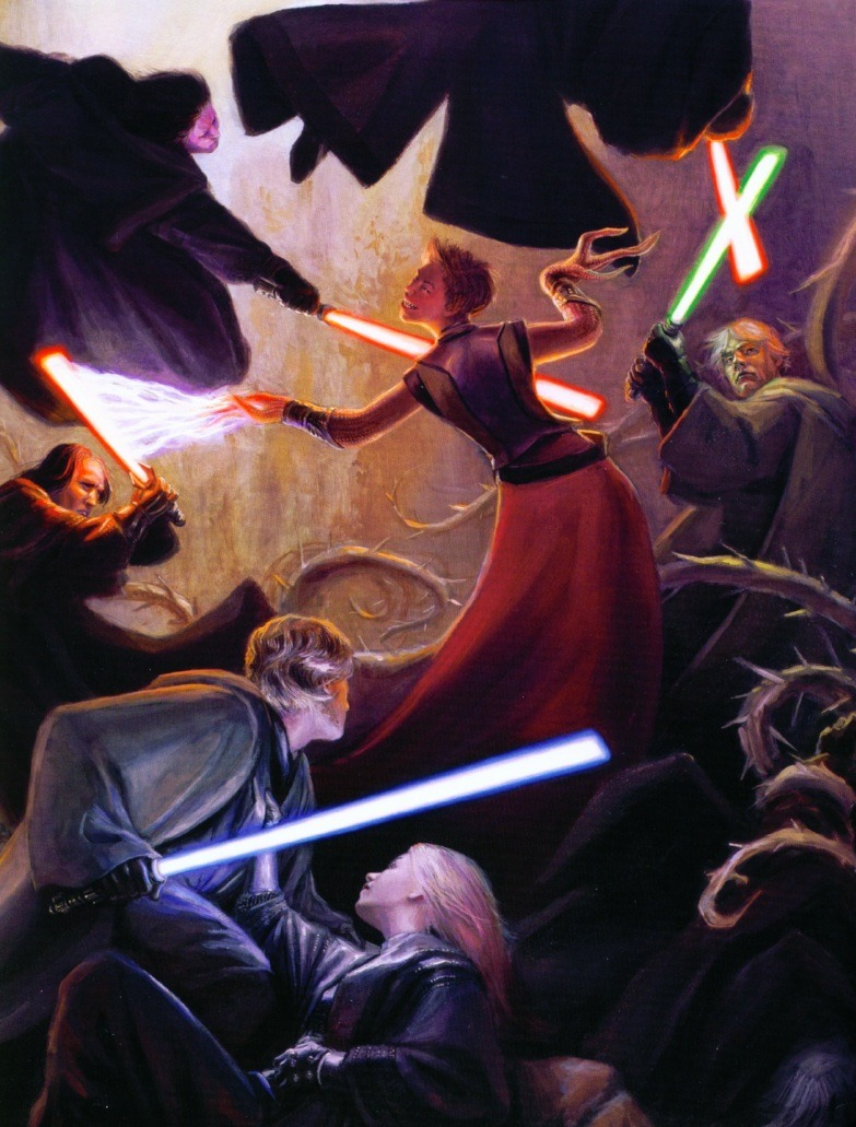 m-paoword:  Luke and Ben Skywalker alongside Sith of the Lost Tribe face off against the force entity, Abeloth.