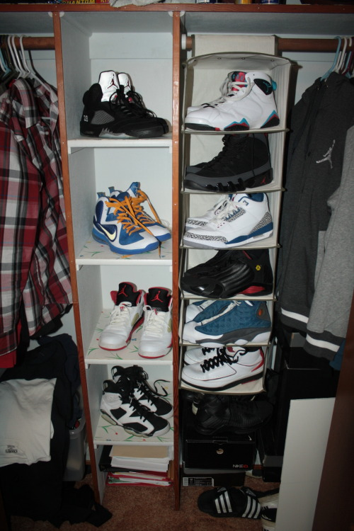 theaddictioniskilla:  justjordans:  Check out Just Jordans and Add your Pics to the collection! My collection… Have some Nikes but J's all the way!  Are those Lebrons from NikeID  Yes, yes they are >:D