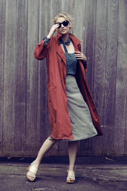 trench. what-do-i-wear:  shirt, Something Else by Natalie Wood // coat, Zanita // skirt, Secret Squirrel // clogs, Zanita for Funkis // sunglasses, Karen Walker  (image: zanita)