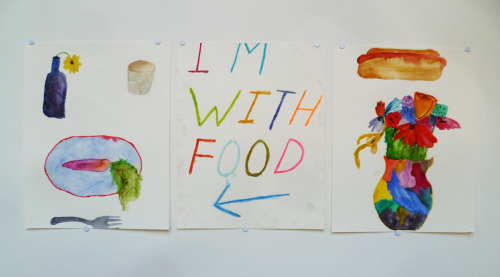 "Erin Nelson I'm With Food, 2012 Gouache and ink on paper, 11"" X 14"" each STARTING BID: $60 SECTION 1"