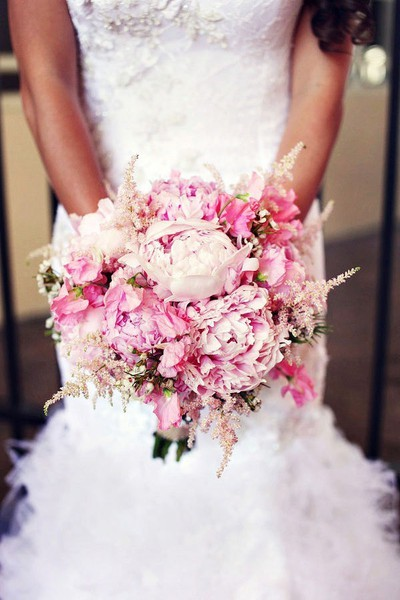 Pink peony and astilbe wedding bouquet