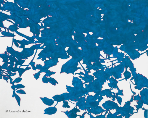Blue Leaves, acrylic on canvas paper