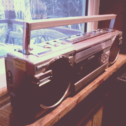 My small #Panasonic #ghettoblaster I found at the #thriftstore #stereo #todieforphotoaday #vintage #cassette #cassetteplayer #luckyfind (Taken with instagram)