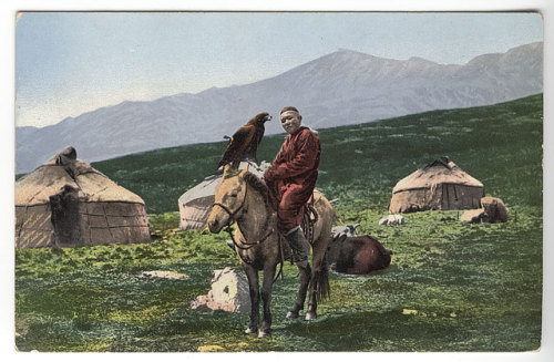 Sergei Ivanovich Borisov, Kazakh man on horse with golden eagle, 1911-1914.