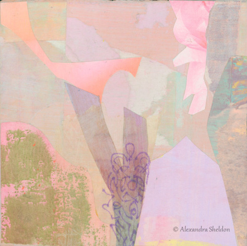 mixed media collage in pastel pinks