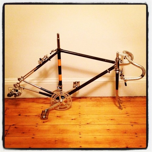 New project, classic 70's Windsor frame with chromed lugs, forks, and stays (Taken with instagram)