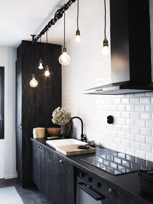 I love this kitchen too! Awesome contrast and texture. Loving the loose lighting wrapped around the pole.