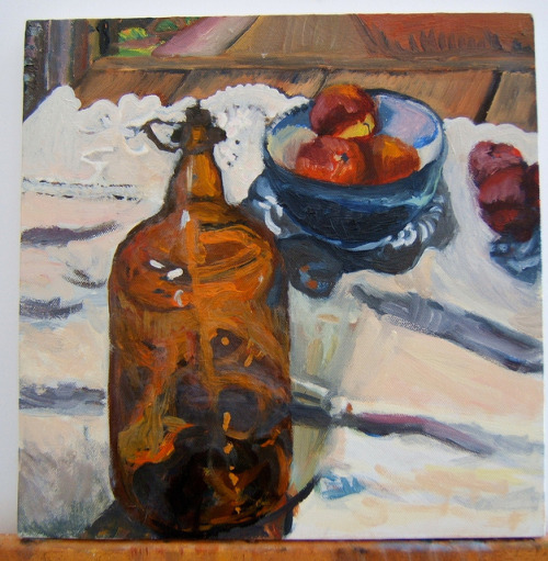 "Still Life with Glass Jug, on Flickr.An oil painting by @lisepetrauskasVia Flickr: 12""x12"", oil on canvas, 2006"