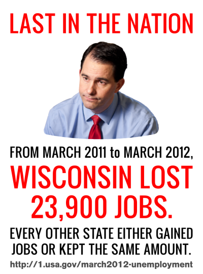 owsposters:  Walker, Last in the Nation Author's note: Here's a little something for our Wisconsinite followers. :-) Info source: http://1.usa.gov/march2012-unemployment (see page 5) Download ultra-high and high def versions  To the extent possible under law,  Occupy* Posters has waived all copyright and related or neighboring rights to Walker: Last in the Nation. This work is published from:  United States.