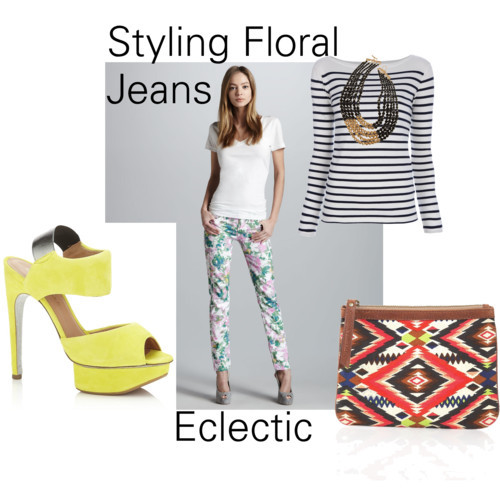 Styling Floral Jeans: Eclectic by kaitland-hunter featuring facets jewelryRalph Lauren cotton shirt, £1087 For All Mankind cropped skinny jeans, $189Kurt Geiger platform sandals, £295Cynthia Vincent canvas handbag, $70Facets jewelry, $50