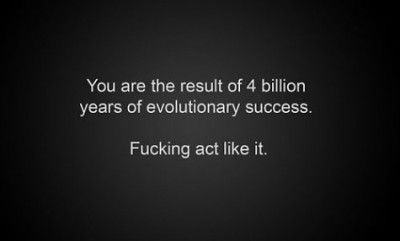 You are the result of 4 billion years of evolutionary success.  Fucking act like it.