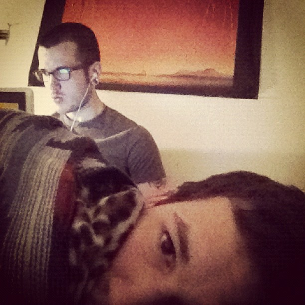Josh is doing homework. I am cold.  (Taken with instagram)