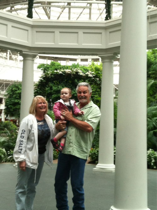 At the Opryland hotel, Nashville, Tennessee, with Meemaw and Papaw.