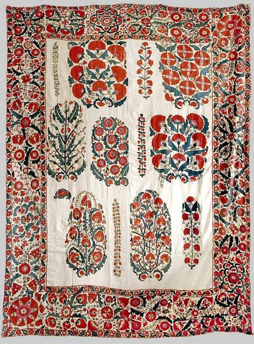 suzani / dowry embroidery nurata/ shakhrisyabz  silk on cotton with bokhara couching, and tambour stitches. date - 1840s measurement: 90cm x 241 cm. provenance - the sir emery walker collection :: esther fitzgerald