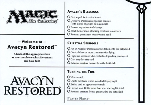 Avacyn Restored Achievement Cards!