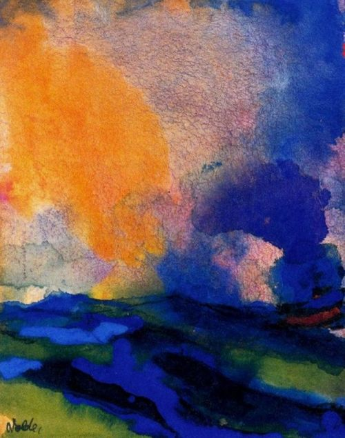 yama-bato:  Emil Nolde - Blue-green Sea with Steamer [+] link
