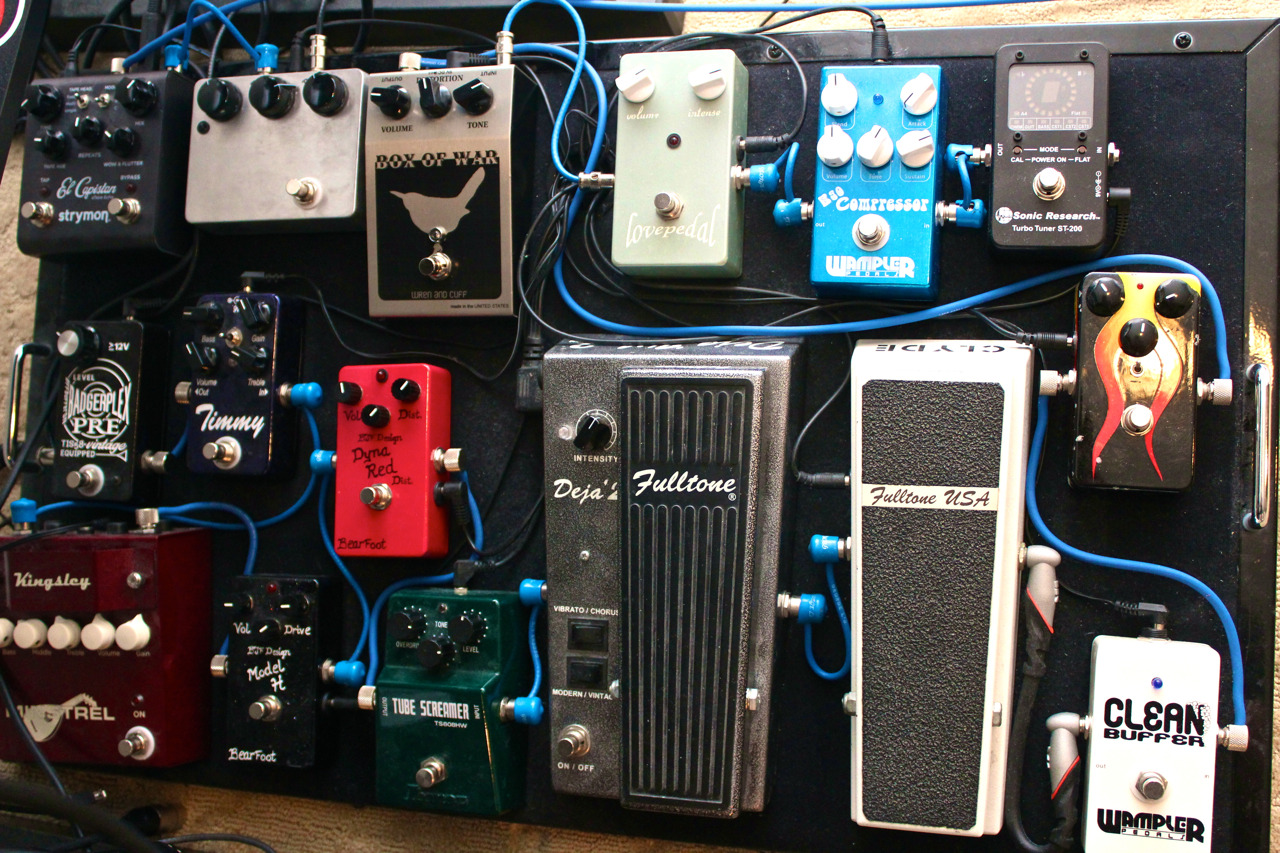 Here's the pedalboard circa April, 2012.  I'm kind of tired of messing with it and I don't think I'm gonna make any changes for a little while.