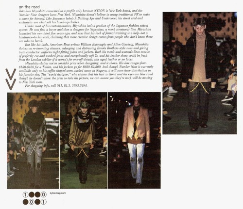 trankillement:  Interpretation Nation - Nylon, October 2001 (Big On Japan) Small article about Number (N)ine with pictures of the fall 2001 collection.
