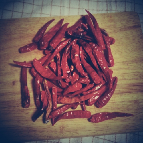 Some chilies from my grandparents farm I've collected, sun dried and roasted a bit. Nom!