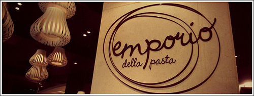 Emporio Della Pasta is an Italian style eatery in the Crown complex of Melbourne. As the name suggests, they specialize in pasta.  The furnishings and finish of this restaurant is nice and modern. Living up to Crowns 'casual' standard of restaurants. The environment is open, with an essence of sophistication.  We got the peri peri pollo pizza. (Try say that fast 10 times.) Now try say irish wristwatch. Moving on. The pizza was good, it had a nice thin base, good amount of sauce and a tangy kick of spice from the peri peri sauce. The chillis on the pizza were a bit too hot for me to handle, lucky there wasn't many of them.  The pasta we got was the tagliatelle pollo fungi, this was delicious, pasta cooked al dante and a generous serving of chicken bits. If they added one more tablespoon of sauce it might have been the perfect amount of sauce. This was my second visit to Emporio Della Pasta, and I think the restaurant isn't mind blowing or special. It's comfortable, and serves good food. However both visits, we didn't receive good service. Perhaps they are a little understaffed, or maybe they just need to be quicker on their feet. Emporio Della PastaCrown Entertainment Complex, 8 Whiteman StMelbourne, VIC 3006 6/10