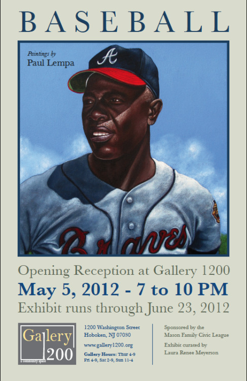 Having a baseball art show in Hoboken, NJ. May 5 is the opening from 7-10 PM. All are welcome.