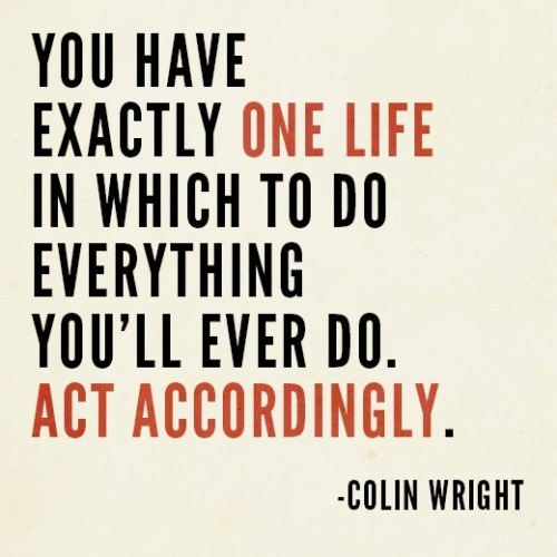 You have exactly one life…