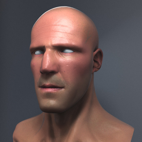 I sculpted a bust of Jason Statham about a week ago, since then I have been studying how to create realistic renders of people. Here is what I got done today. Got a lot to go but think I will try to master the eyes next. He looks really weird without hair btw.  More to come soon!