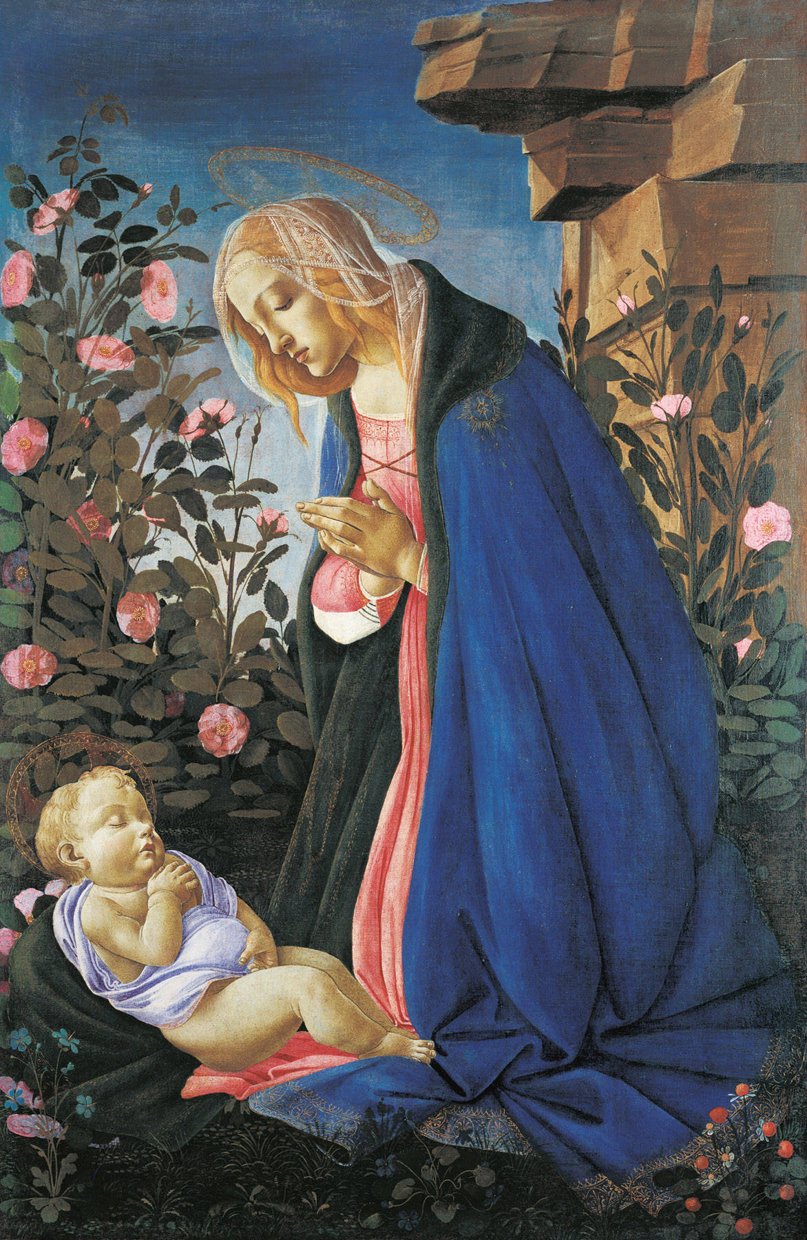 soulhospital:  The Virgin Adoring the Sleeping Christ Child - Sandro Botticelli, circa 1490. Renaissance Art - Tempera and gold on canvas, 122 x 80.5 cm. Permanent Collection of the National Gallery of Scotland, Edinburgh.