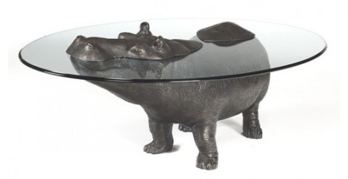 Awesome Hippopotamus Table. Glass size 4.5′ x 3′ 12mm thick toughened glass bevelled edges conforming to British Standards BS76206 but can be made to suit. -sculptart.co.uk [Source]