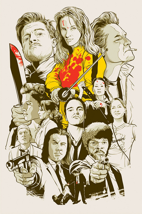 Quentin Tarantino Movie Collage Poster