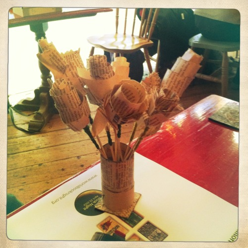 lucyinthepubwithcider:  I found these roses made out of old books at an event last night. They smell of stories.