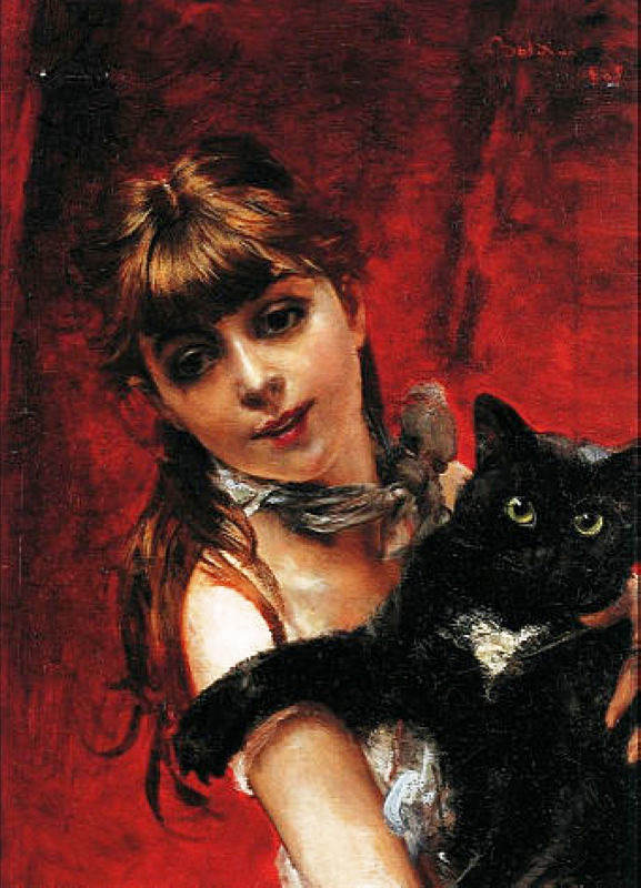 worldpaintings:  Giovanni Boldini Girl with Black Cat (Bambina con il Gatto Nero in Braccio), 1885, oil on canvas, private collection.