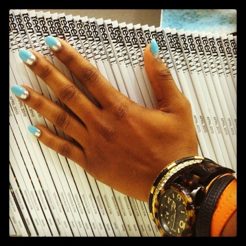 Shiona`s blue nails with a great silver stripe. Beautiful