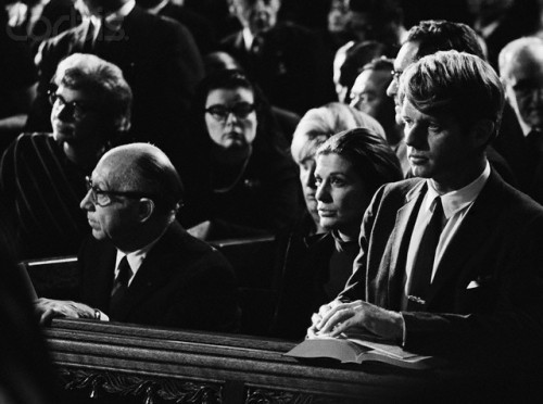 rfkfanclub:  Senator Robert F. Kennedy and other Kennedy family members at the funeral for Cardinal Francis Joseph Spellman in St. Patrick's Cathedral. Spellman was ordained in 1916 and became Archbishop of New York in 1939.
