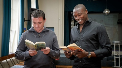 Steve Harper and Shola Ameobi with that great smile he has