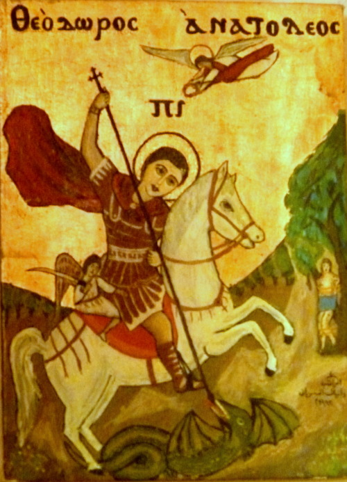 Saint George killing the dragon. Coptic icon, Syrians Monastery, Wadi-al-Natroun, Egypt