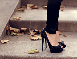 black heels, black pants, fashion, girl, heels - inspiring picture on Favim.com on We Heart It. http://weheartit.com/entry/27334744