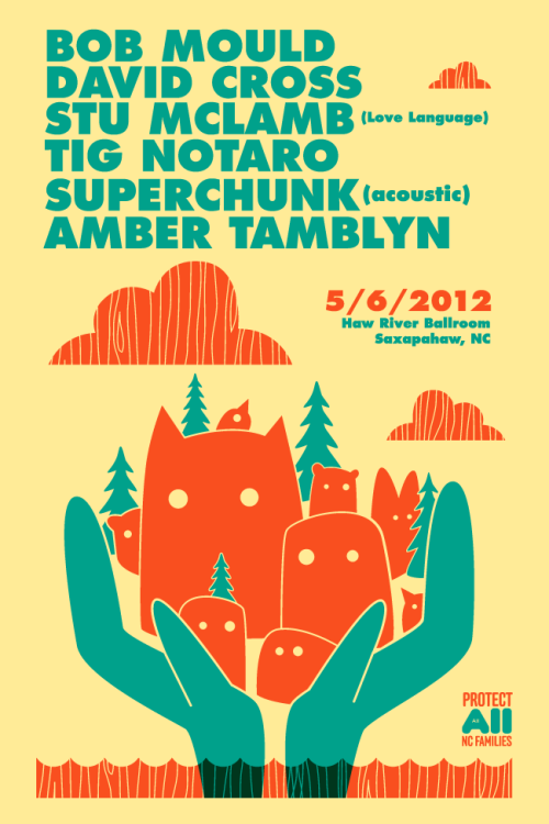 Poster Design: Bob Mould, David Cross, Stu McLamb, Tig Notaro, Superchunk, Amber Tamblyn. Defeat Amendment 1 NC.