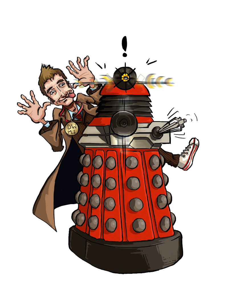 tinymaster:  10th Doctor v Dalek Drone He never met them, but we know if the Tenth Doctor had, he'd have run circles around the new Daleks. Illustration for issue 19 of Doctor Who: Monster Invasion I got to show David Tennant this a while ago, and he beamed, which was as much a reward as I could have ever asked for. © Immediate Media Co. & BBC Worldwide