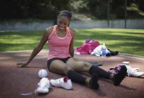 Track and field sprint athlete Allyson Felix of the U.S. , who won an Olympic gold medal in Beijing, trains for the London 2012 Olympics in Los Angeles, California, April 10, 2012. Driven for Olympic gold, Felix began to prepare for the 2012 Olympics by adding the 400m to her signature 200m sprint. Last year she became the first woman to win U.S. national titles in the 100m, 200m, and 400m during a career (via Photo from Reuters Pictures)